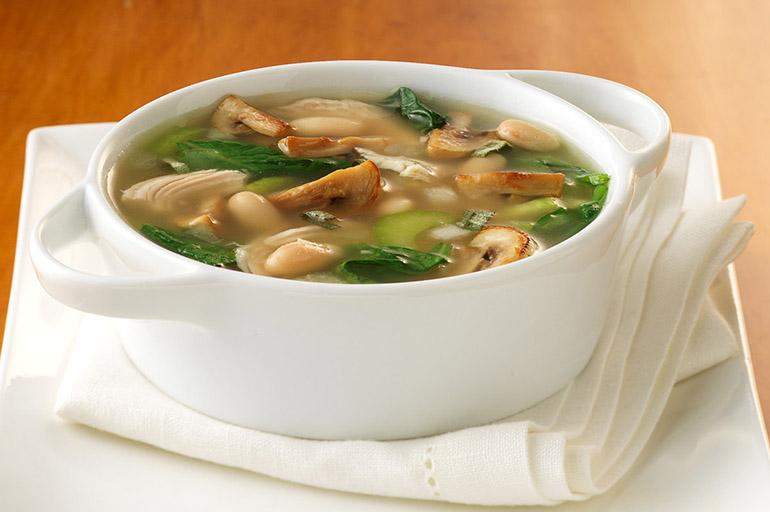 Суп с куриным мясом и грибами